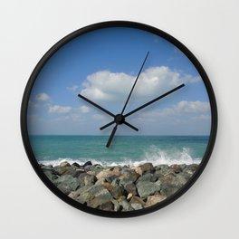 Aqua stone beach - Beaches Wall Clock