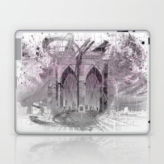 City Art Brooklyn Bridge in Detail | rose Laptop & iPad Skin