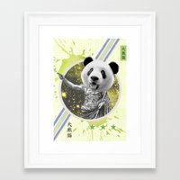 gladiator Framed Art Prints featuring Gladiator Panda by Ginger Pigg Art & Design