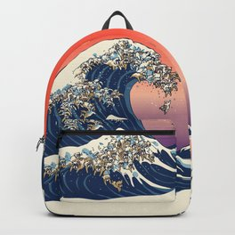The Great Wave of English Bulldog Backpack