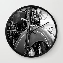 Motorcycle-B&W Wall Clock