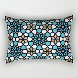 Persian Mosaic – Turquoise & Gold Palette Rectangular Pillow
