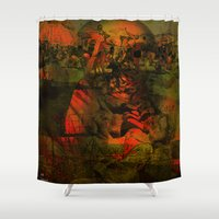 tom hiddleston Shower Curtains featuring Peeping Tom by Ganech joe