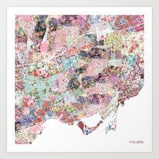 Toronto map flowers Art Print