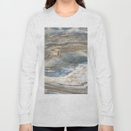 Pearly Blue Swirl Marble Long Sleeve T-shirt