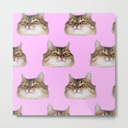 Funny cat's  heads on pink Metal Print