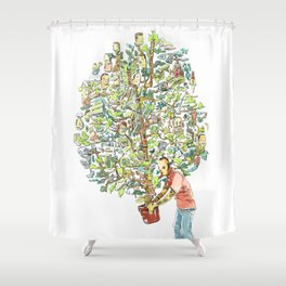Doodle tree Shower Curtain