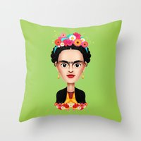 frida Throw Pillows featuring Frida by Matias G. Martinez