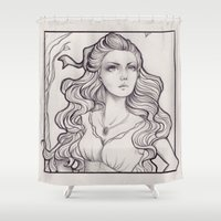 art nouveau Shower Curtains featuring Art Nouveau by Sah Matsui