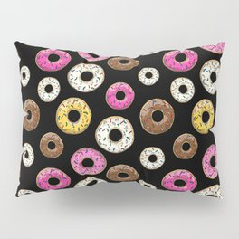 Donut Pattern - Black Pillow Sham