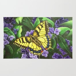 TigerEye Swallowtail Butterfly on Purple Flowers Rug