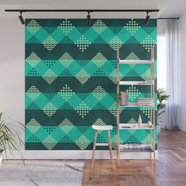 Green strips and geometric abstract pattern Wall Mural