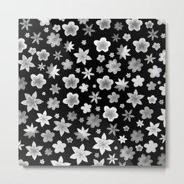Black and White Watercolor Flower Pattern Metal Print