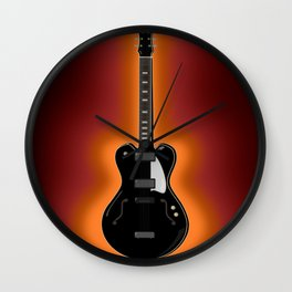 Black semi-acoustic guitar on a sunburst orange and red background | Vector digital art Wall Clock