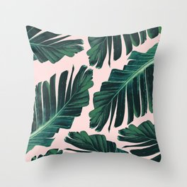 Tropical Blush Banana Leaves Dream #1 #decor #art #society6 Throw Pillow