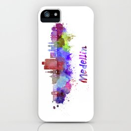 Medellin skyline in watercolor iPhone Case