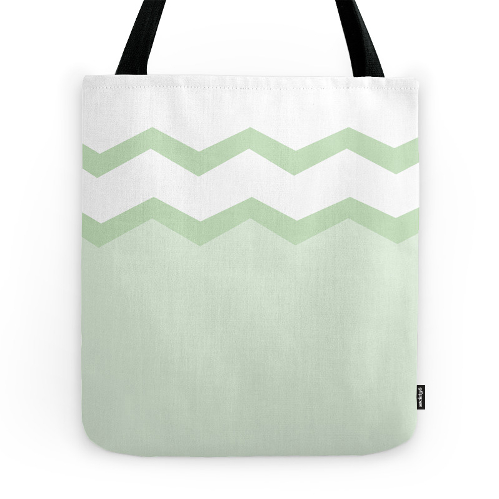 Geometric Abstract - Zigzag, Green And White. Tote Purse by kerenshiker (TBG7472912) photo