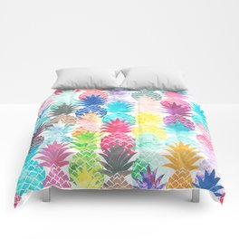 Hawaiian Pineapple Pattern Tropical Watercolor Comforters