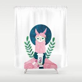 The coffee Llama Shower Curtain