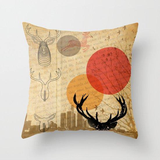 deer in the city Throw Pillow