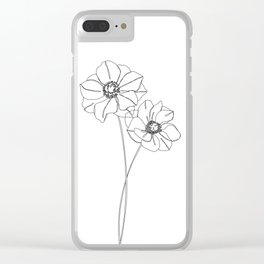 Botanical illustration line drawing - Anemones Clear iPhone Case