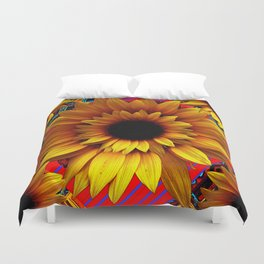 ANTIQUE GOLDEN SUNFLOWER RED MODERN ART Duvet Cover