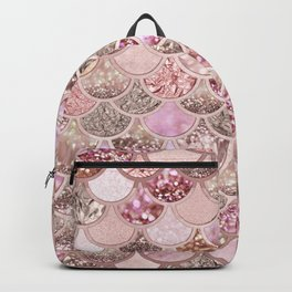 Rose Gold Blush Glitter Ombre Mermaid Scales Pattern Backpack