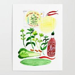Vietnamese Rice Paper Rolls Recipe Watercolor Poster