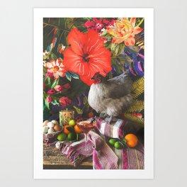 Still Life with Fat Chicken Art Print