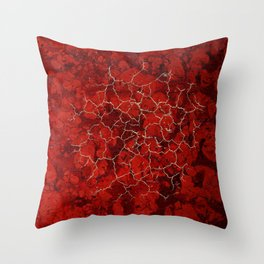 Red marble and golden craquelure Throw Pillow