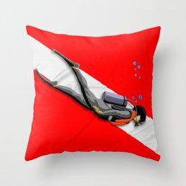 Diver And Dive Flag Throw Pillow
