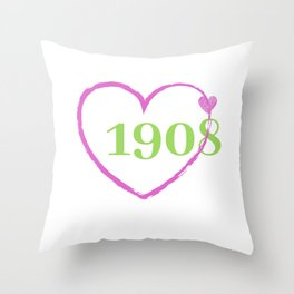 1908 Heart Throw Pillow