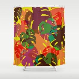 multicolored monstera Shower Curtain