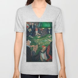 At the Roulette Table in Monte Carlo by Edvard Munch Unisex V-Neck