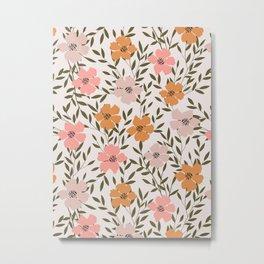 70s Floral Theme Metal Print