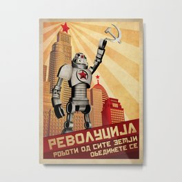 SPACE ROBOT in soviet style Metal Print