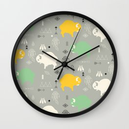 Seamless pattern with cute baby buffaloes and native American symbols, gray Wall Clock