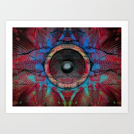 Red music speakers on a cracked wall Art Print