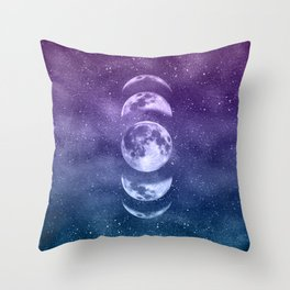 Lunar Moon Phases - Teal and Purple Throw Pillow