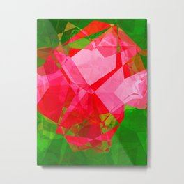 Pink Roses in Anzures 2 Abstract Polygons 1 Metal Print