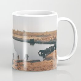 HERD OF ELEPHANT DRINKING WATER FROM LAKE Coffee Mug