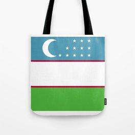 Uzbekistan flag emblem Tote Bag