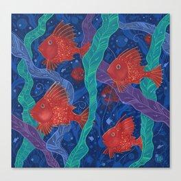Scarlet Fish, Seaweed, Sea Ocean Animals Underwater World Canvas Print