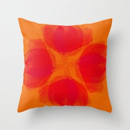 orange and flowers pattern Throw Pillow