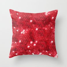 Faux Red Sequin Background Throw Pillow