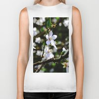 cherry blossoms Biker Tanks featuring Cherry blossoms by Monica Georg-Buller