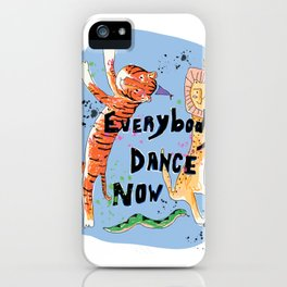 Everybody Dance Now! Lion, Tiger, Snake Jungle Dance Party iPhone Case