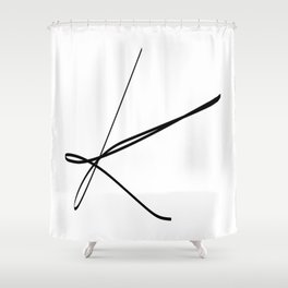 """ Singles Collection "" - One Line Minimal Letter K Print Shower Curtain"