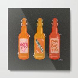 Kombucha Bottles - Charcoal Palette Metal Print