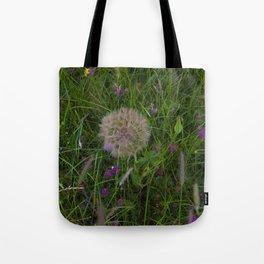 Field of flowers and Dandelions Tote Bag
